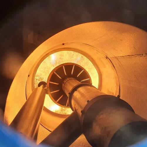 Mixed burner for the industrial waste treatment and recovery plant
